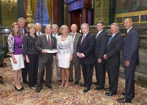June 16, 2015 – Some of the 23 cosponsors gather to introduce Senate Bill 76 -- the Property Tax Independence Act.
