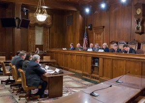 The Senate Majority and Democratic Policy Committees team up to review suggestions from the private and public sector on ways to improve the state's economic development efforts during a public hearing at the state Capitol